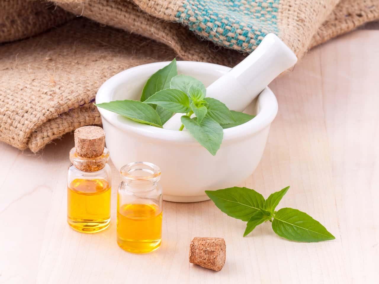 jars of essential oils for fatty liver