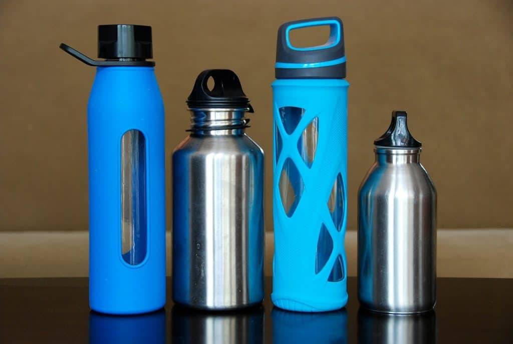 a collection of water bottles