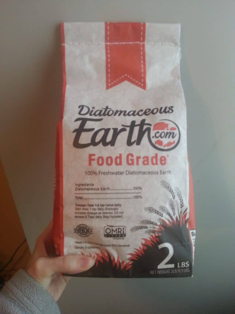 a bag of diatomaceous earth for parasite die off symptoms