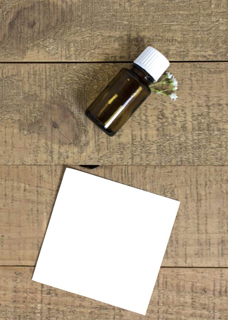 a brown bottle of essential oils