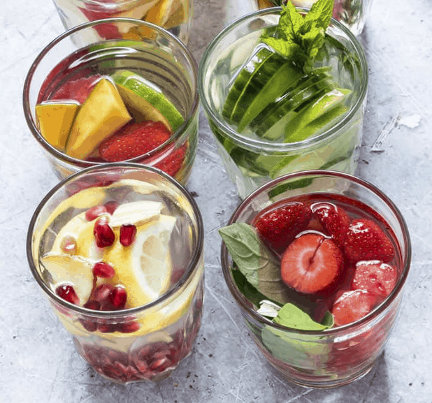 a variety of fruit infused detox water