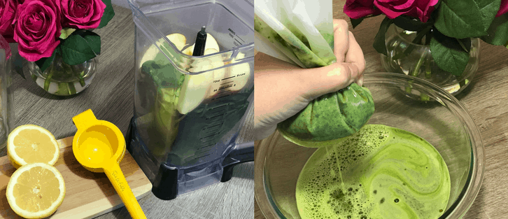 woman making a greed detox drink