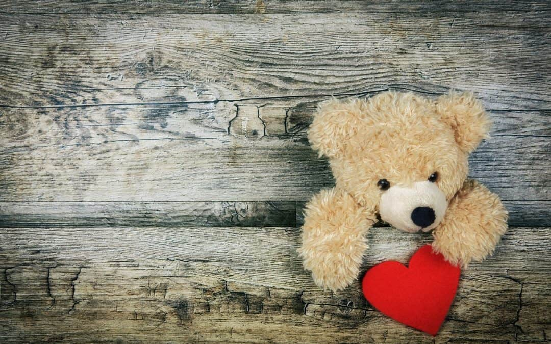 A cuddly non toxic stuffed animal holding a red heart