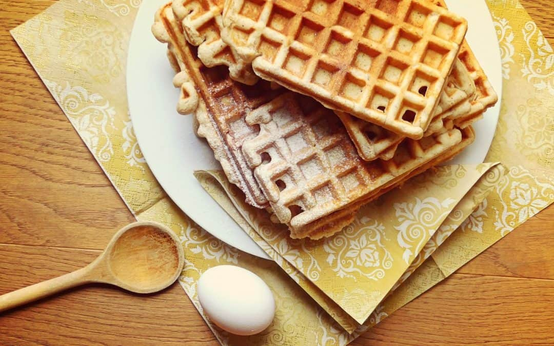 healthy waffles freshly cooked in a teflon-free waffle maker